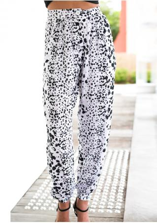 Leopard Printed Pocket Loose Casual Pants