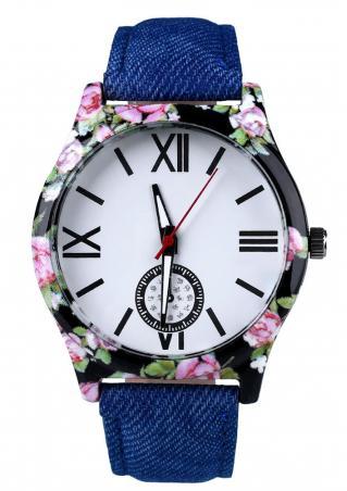 Floral Denim Band Quartz Wrist Watch