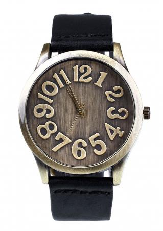 Number Leather Band Retro Wrist Watch