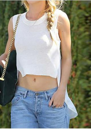 Solid Irregular Sleeveless Fashion Crop Top