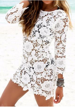 Solid Hollow Out Casual Mini Lace Dress
