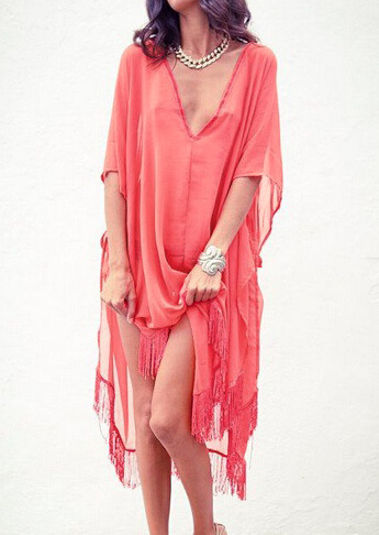 Solid Tassel Splicing Loose Cover Up