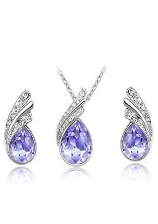 Rhinestone Fashion Necklace Earrings Jewelry Set