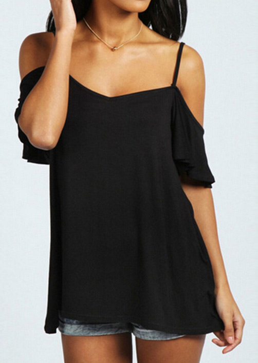 solid off shoulder petal sleeve fashion blouse
