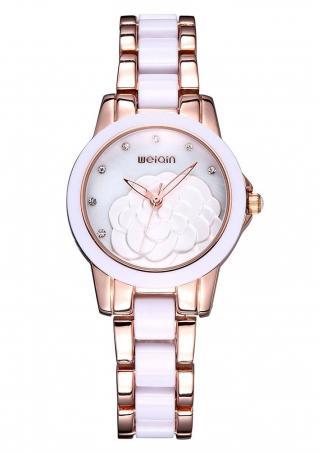 Flower Rhinestone Alloy Wrist Watch