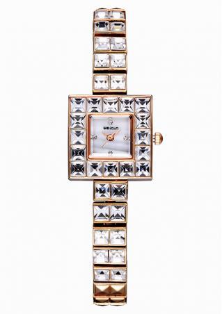 Rhinestone Square Dial Bracelet Clasp Wrist Watch