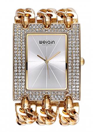 Rhinestone Alloy Rectangle Bracelet Clasp Watch