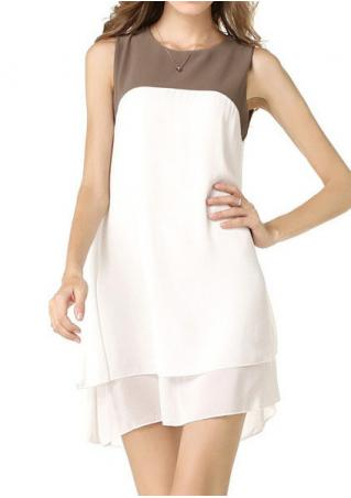 Color Block Layered Chiffon Casual Dress