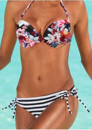 Floral Striped Tie-Up Halter Bikini Set