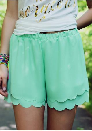 Solid Layered Elastic Waist Shorts