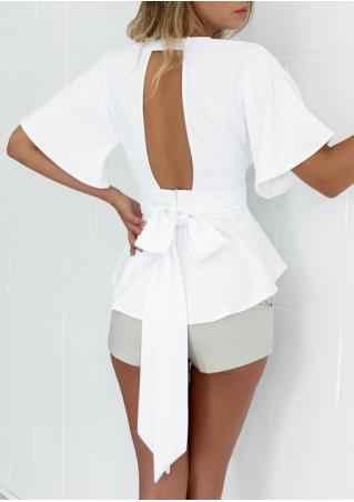 Solid Ruffled Deep V-Neck Backless Blouse