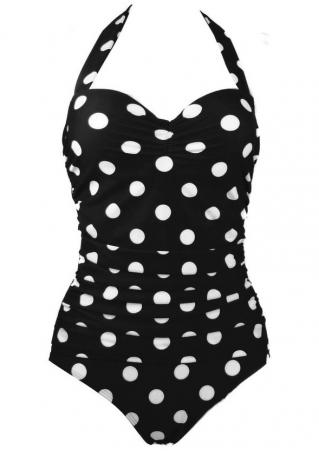 Polka Dot Halter One-Piece Swimsuit