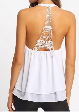 Solid Lace Splicing Layered Backless Tank