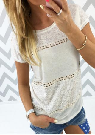 Solid Lace Splicing Fashion T-Shirt