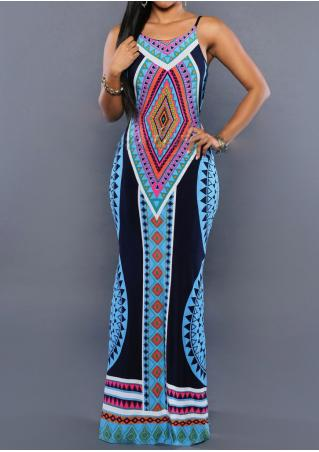 Geometric Printed Backless Maxi Strap Dress