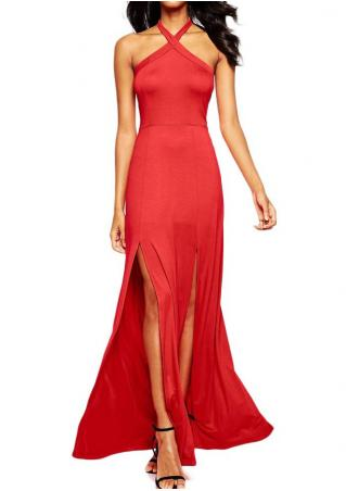 Solid Slit Backless Sexy Halter Maxi Dress