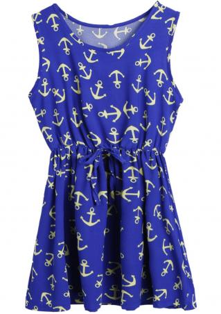 Anchor Printed Bowknot Casual Mini Dress