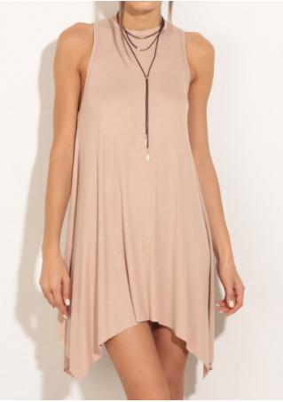Solid Back Hollow Out Irregular Mini Dress
