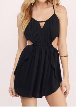 Solid Ruffled Hollow Out Sexy Romper