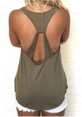 Solid Backless Sleeveless Sexy Tank
