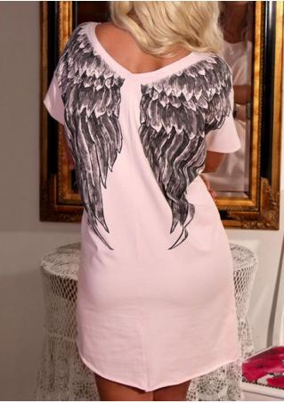 Wings Printed Short Sleeve Mini Dress