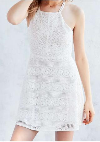 Solid Backless Sexy Strap Lace Dress