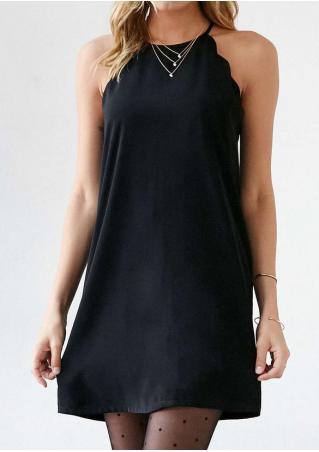 Solid Scalloped Sleeveless Mini Strap Dress