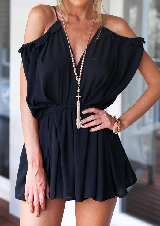 Solid Ruffled Off Shoulder Sexy Romper