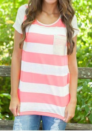 Striped Pocket O-Neck Casual T-Shirt