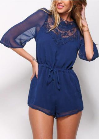 Solid Lace Splicing Drawstring Backless Romper