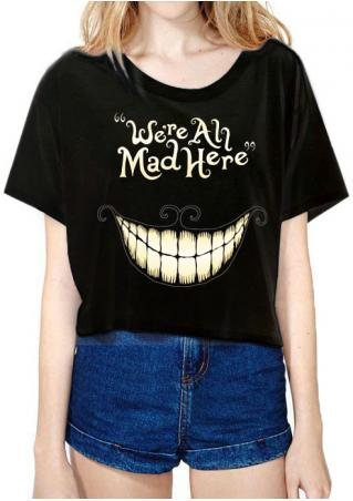 Halloween Toothy Smile Printed Crop Top