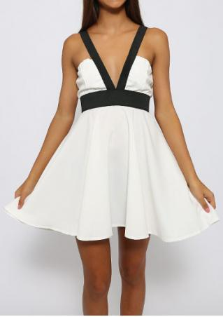 Color Block Zipper Backless Sexy Strap Dress