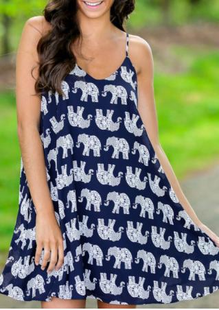 Elephant Printed Sleeveless Mini Strap Dress
