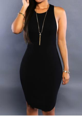 Solid Sexy Bodycon Dress Without Necklace