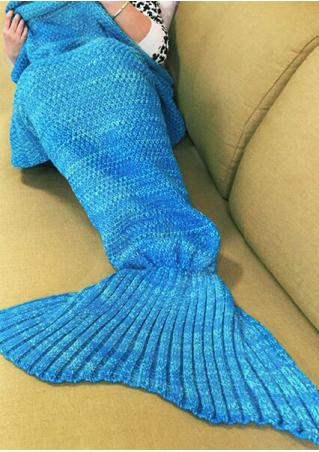 Solid Knitted Warm Fishtail Blanket