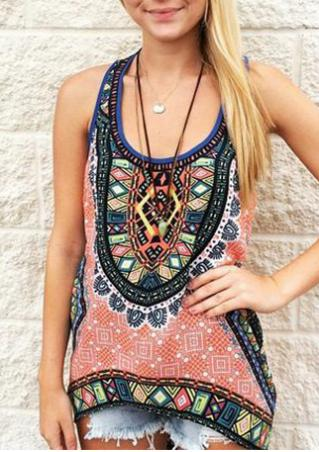 Geometric Printed Fashion Tank Without Necklace