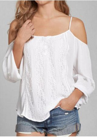 Solid Lace Chiffon Off Shoulder Fashion Blouse