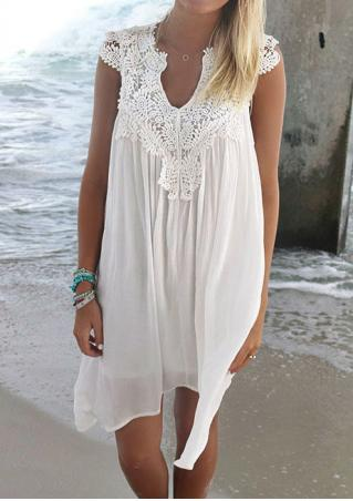 Solid Lace Chiffon Casual Dress Without Necklace