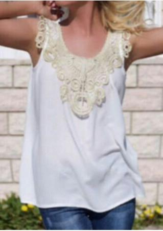 Lace Splicing Sleeveless Fashion Tank