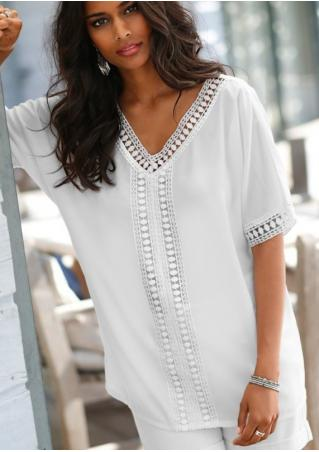 Solid Lace Splicing V-Neck Fashion Blouse