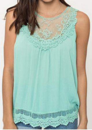 Solid Lace Splicing Sleeveless Fashion Tank