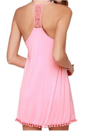 Solid Tassel Splicing Backless Sexy Strap Dress