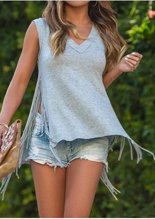 Solid Tassel Slit Sleeveless Fashion Blouse
