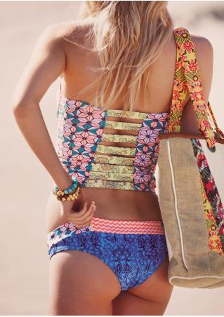 Multicolor Printed Hollow Out Tankini