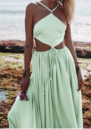 Solid Backless Sleeveless Strap Maxi Dress