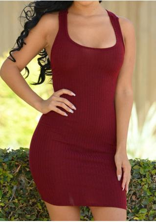 Solid Back Lace Up Sexy Bodycon Dress