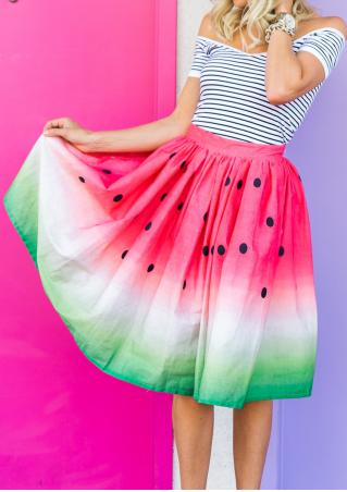 Multicolor Dot Printed Fashion Midi Skirt
