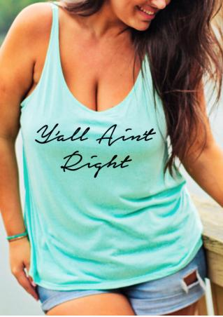 Letter Printed Plus Size Casual Tank