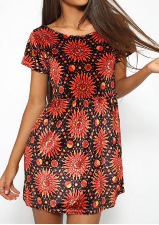 Printed O-Neck Short Sleeve Mini Dress