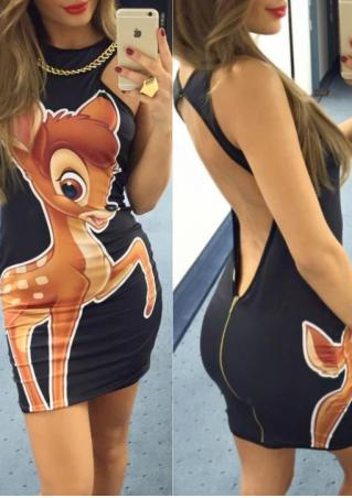 Cartoon Printed Backless Bodycon Mini Dress With Chain